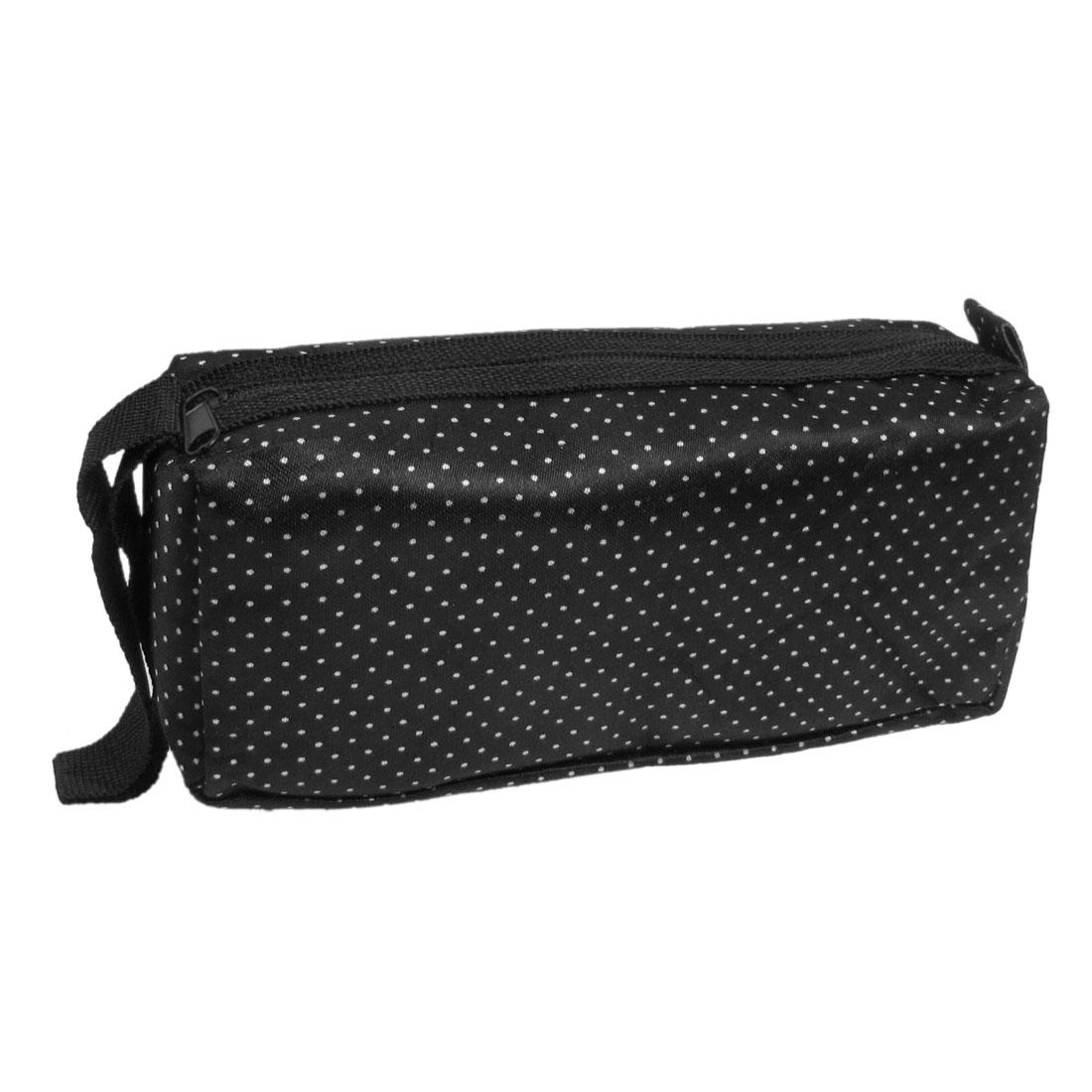 Lady White Dot Print Zip Up Black Cosmetic Pouch Bag w Strap