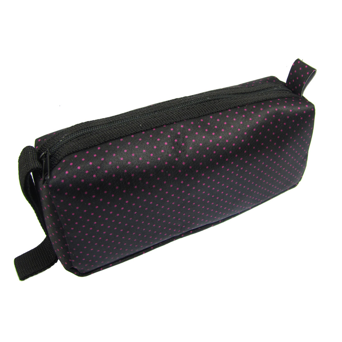 Lady Black Fuchsia Dotted Print Zipper Cosmetic Pouch Holder Bag w Strap