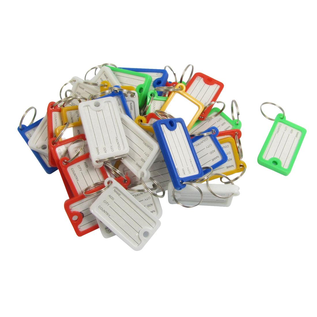 Plastic Key ID Label Tags Split Ring Keyring Keychain Multicolor 36 Pcs