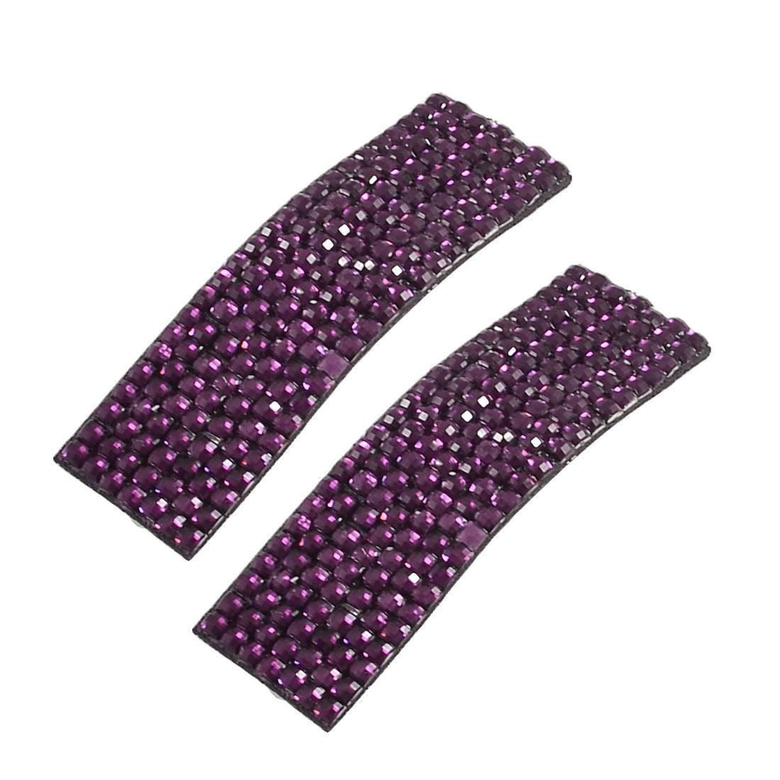 Lady Glittery Deep Purple Rhinestone Decoration Black Hair Clip Hairpin 2 Pieces