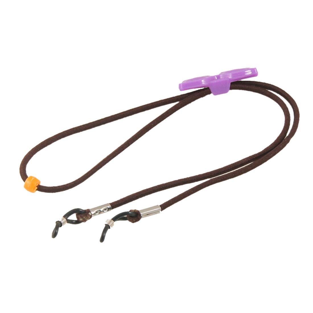 Brown Stretch Nylon Neck String Purple Plastic Glasses Decor Eyewear Glasses Retainer