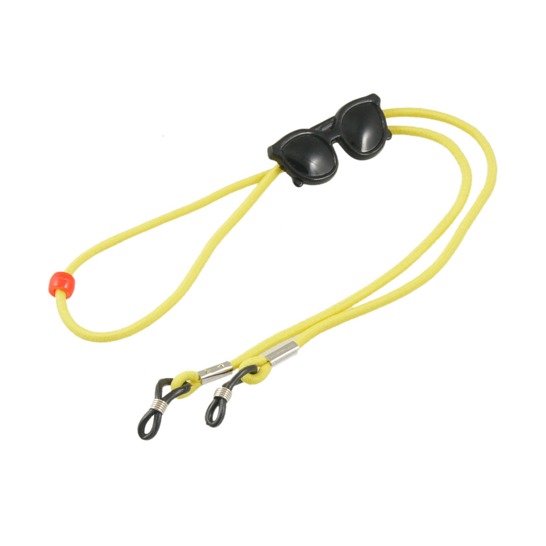 Yellow Elastic Nylon Rope Ajustable Rubber Loop Tip Glasses Retainer