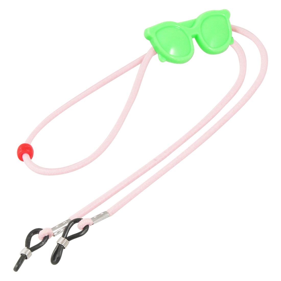 Adjustable Pink Elastic Nylon Neck Cord Lanyard Green Plastic Glasses Accent Glasses Retainer
