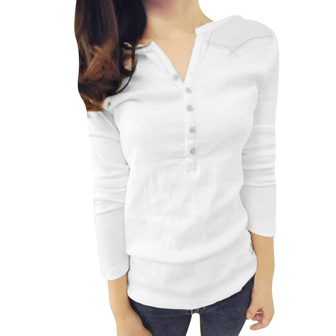 Women White V Neck Button Up Pullover Spring Panel Top Shirt XS