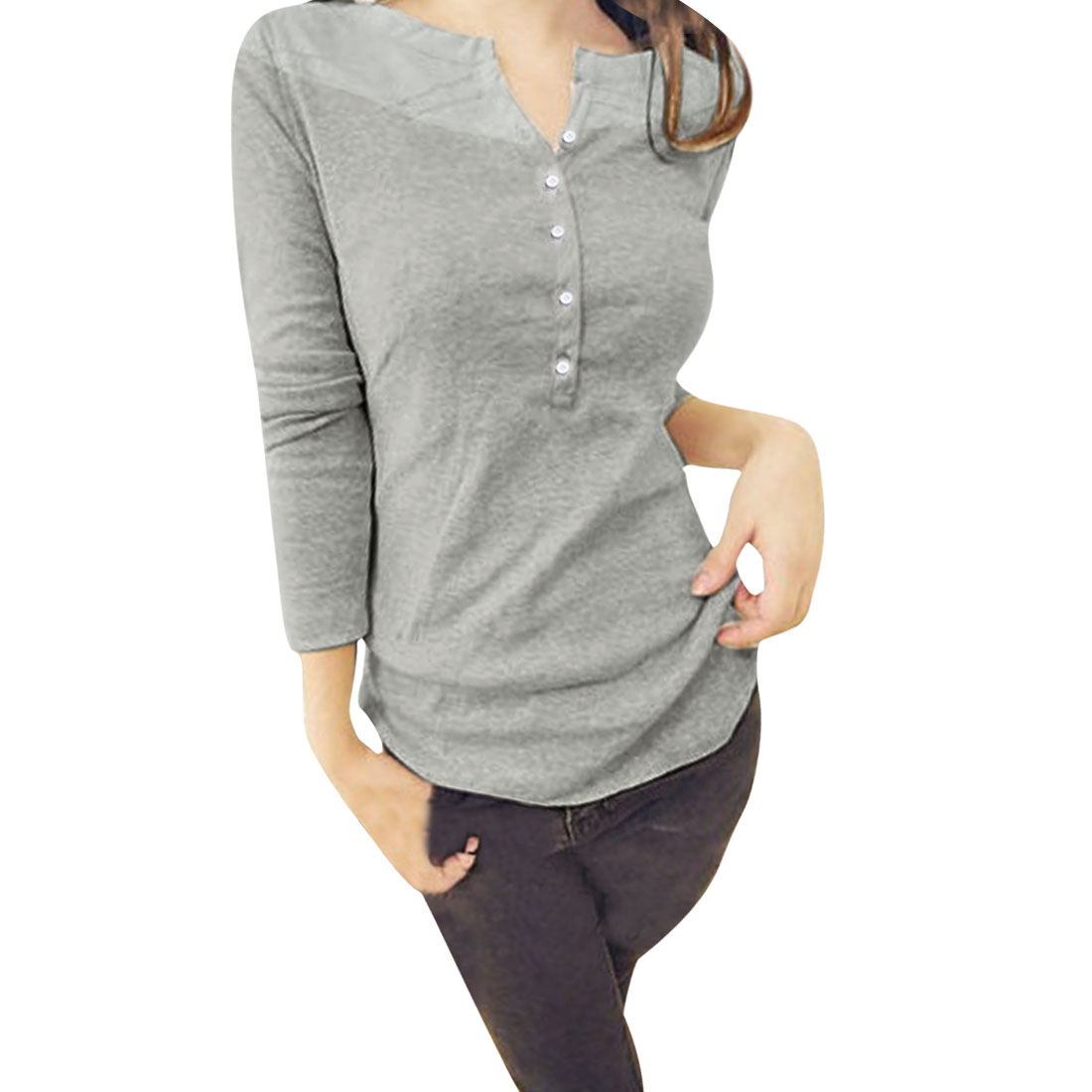 Ladies Light Gray Long Sleeve Pullover Casual Panel Top Shirt XS