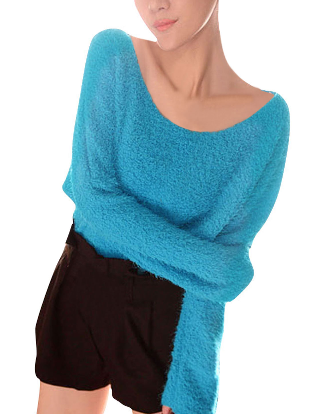 Dolman Long Sleeve Scoop Neck Sky Blue Fuzzy Ladieswear Knitwear S