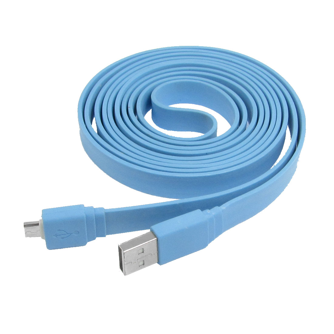 Blue 2 Meter 6.5Ft Long Data Transfer USB Male A to Micro 5 Pin Cable