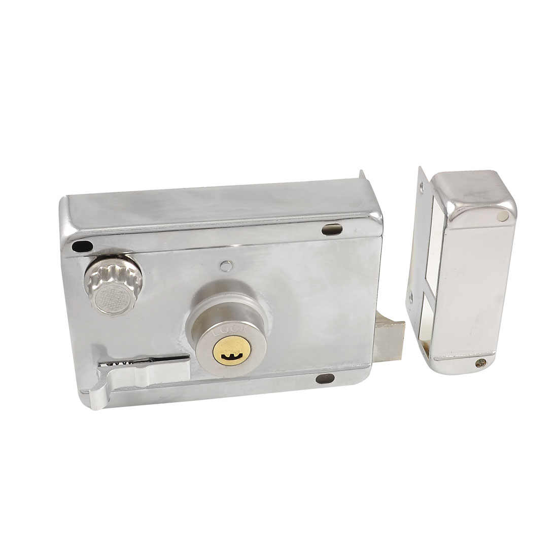 Home Bathroom Latch Silver Tone Door Deadbolt Rim Lock w 5 Keys