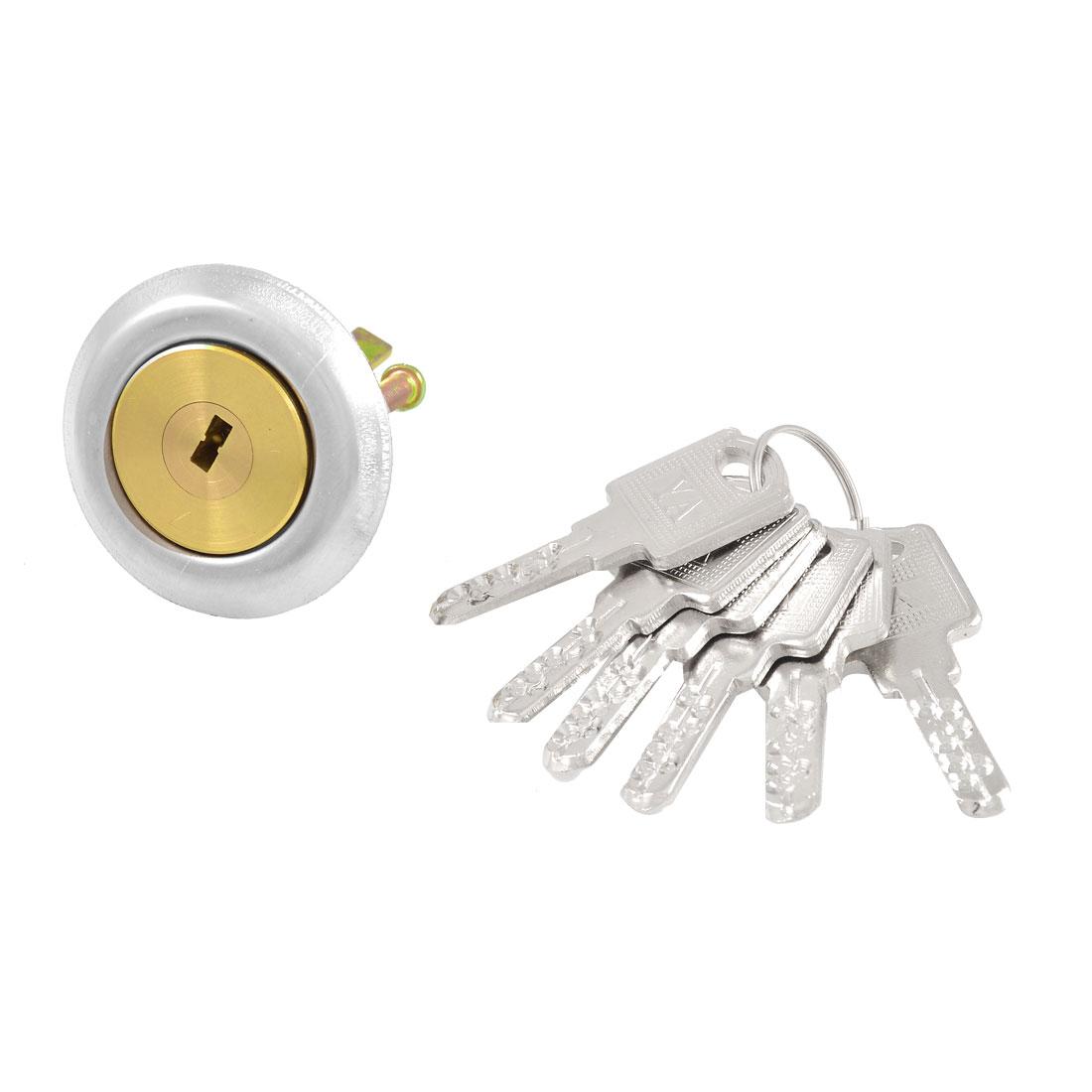 Office Cabinet Drawer Anti-Theft Deadbolt Cylinder Lock + 6 Keys