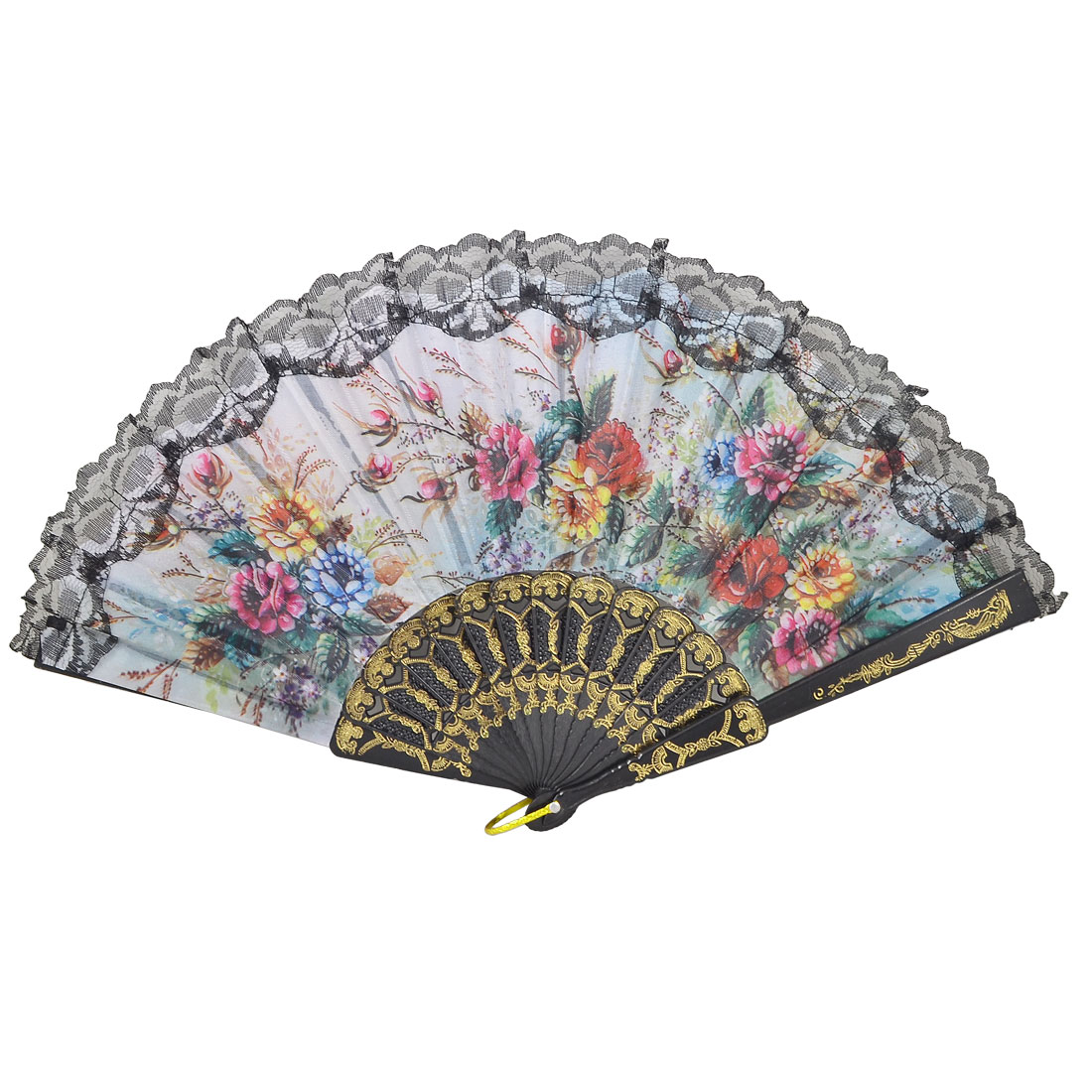 Ladies Black Lace Green Leaf Colorful Flowers Pattern Folding Hand Fan