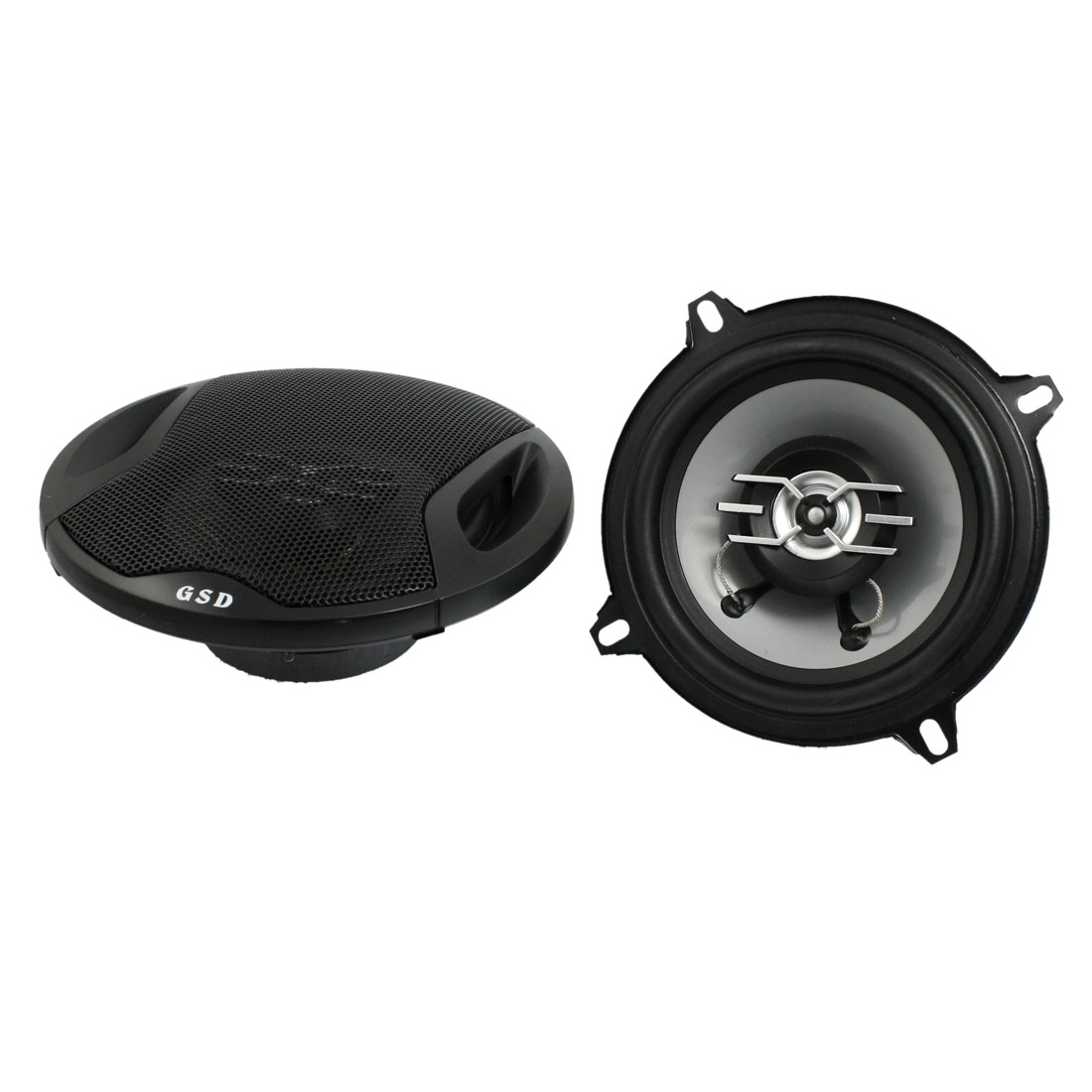 "5"" Diameter 500W 2-way Two Coaxial Car Audio Speakers Black 2 Pcs"
