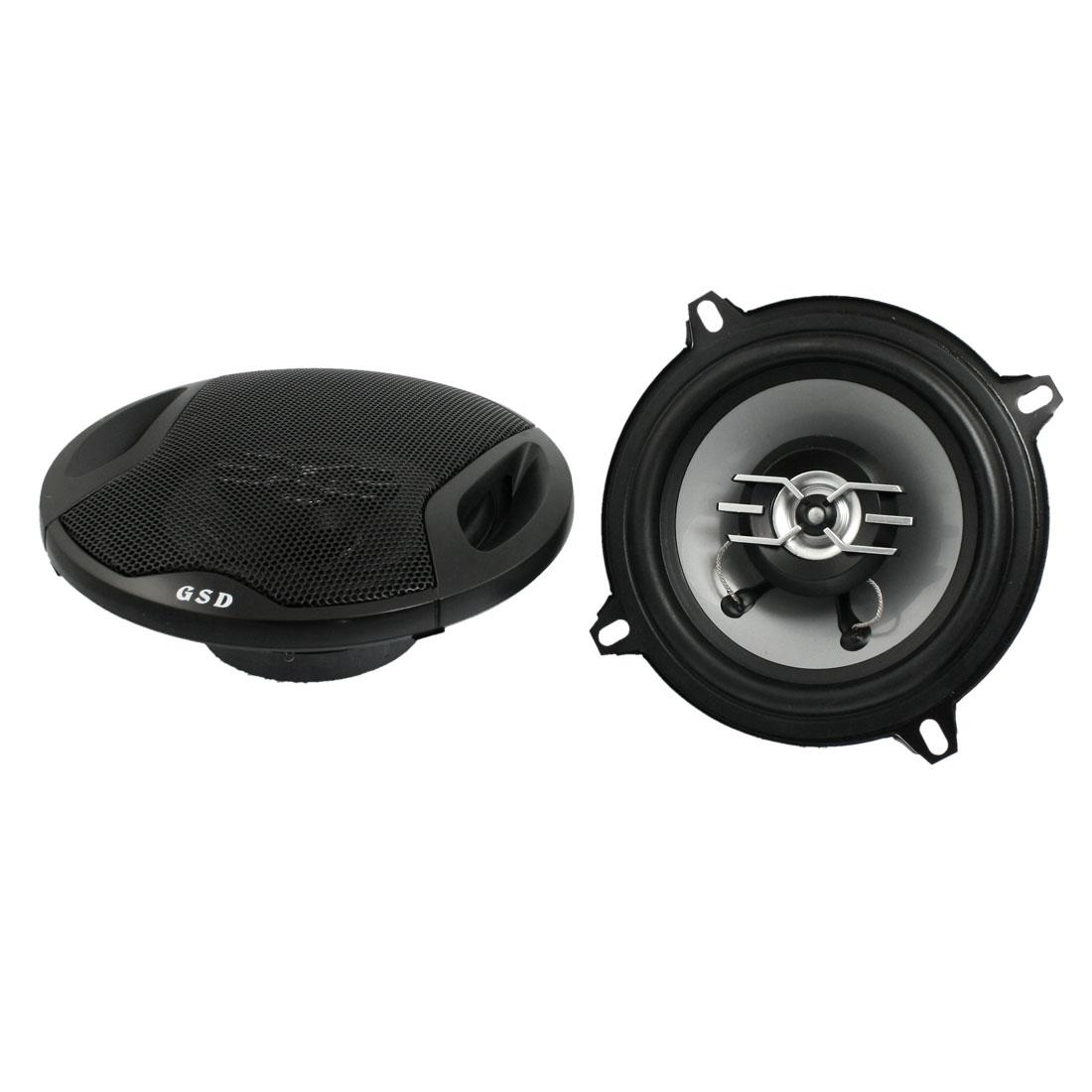 "5"" Diameter 500W 2-way Two Coaxial Car Audio Speakers Black 2 Pcs"