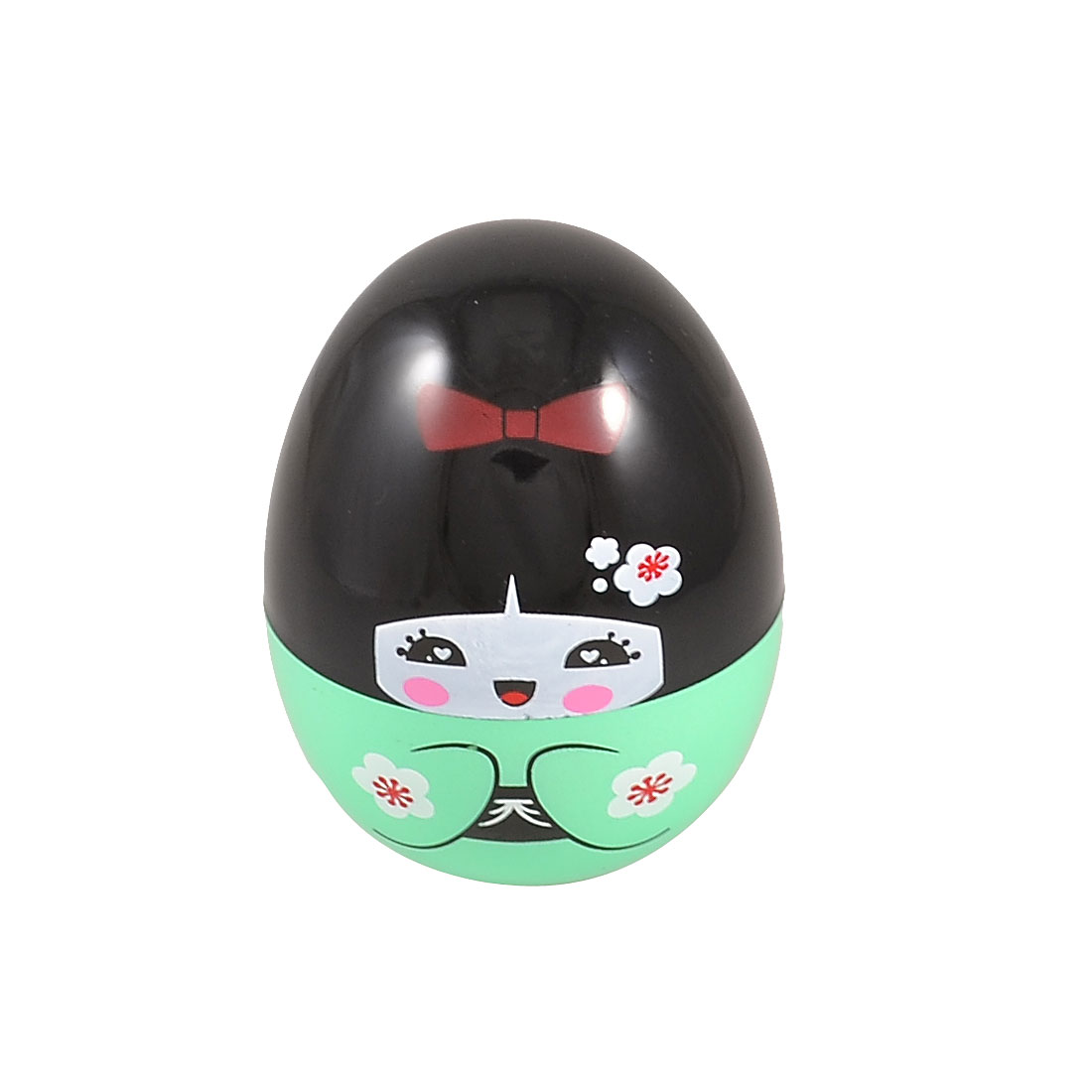 Green Black Plastic Japanese Doll Pattern Tumbler Egg Style Toothpick Box