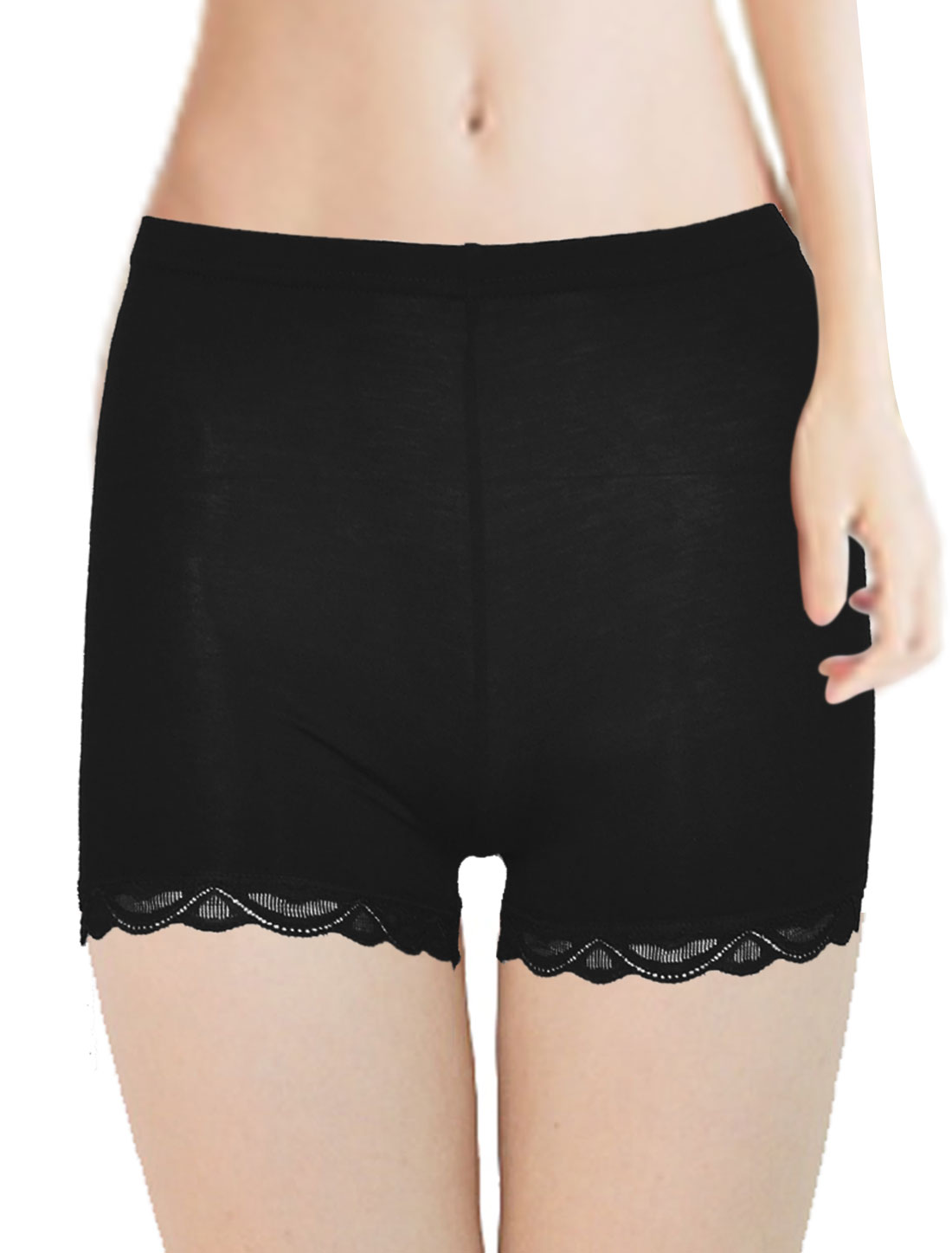 XS Lace Hem Elastic Waist Short Pants Leggings Black for Ladies