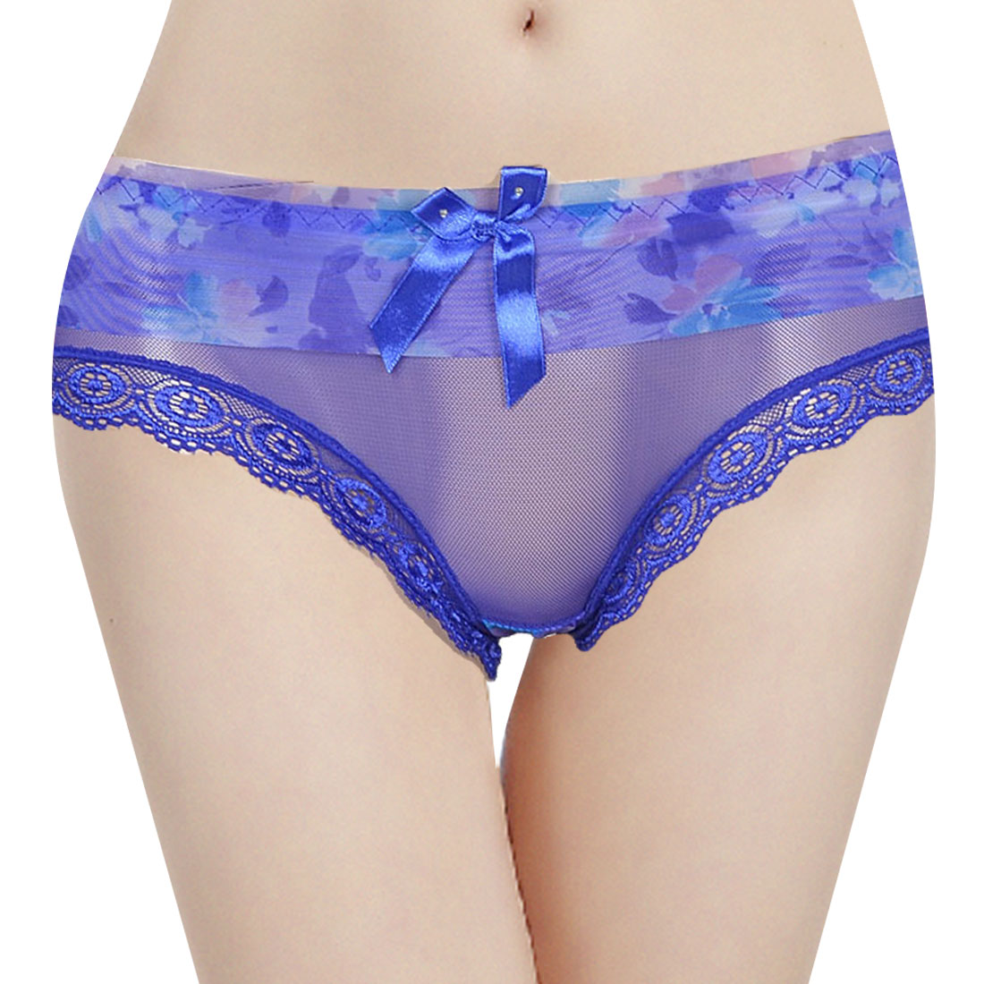 Lady Blue Bowknot Detail Stretch Ruffled Waist Underwear Lingerie Briefs XS