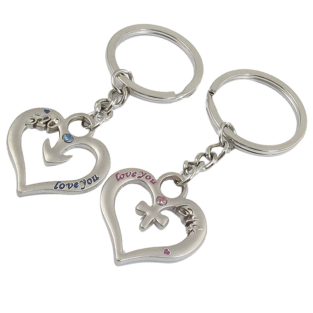 Arabic Number Accent Hollow Heart Pendant Key Chain Keyring for Lover