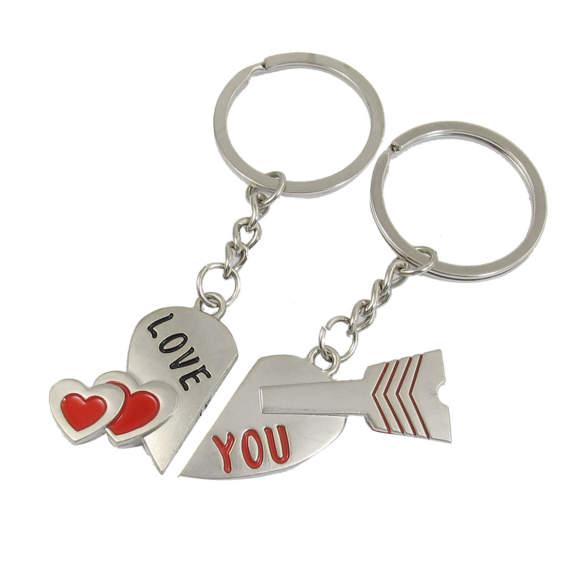 Couple Magnetic Divided Heart Arrow Pendant Key ring keychain Pairs