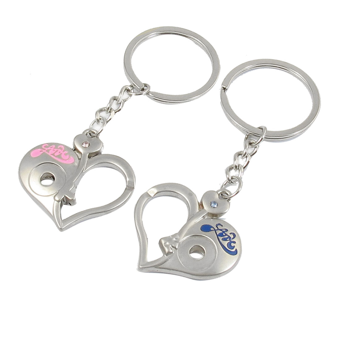 Lovers Pink Blue Love Print Rhinestone Decor Hollow Heart Pendant Key Ring Keychain