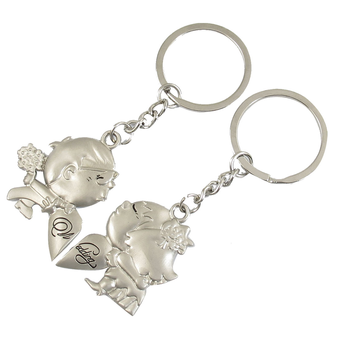 Silver Tone Bridegroom Bride Shaped Magnetic Pendant Keychain