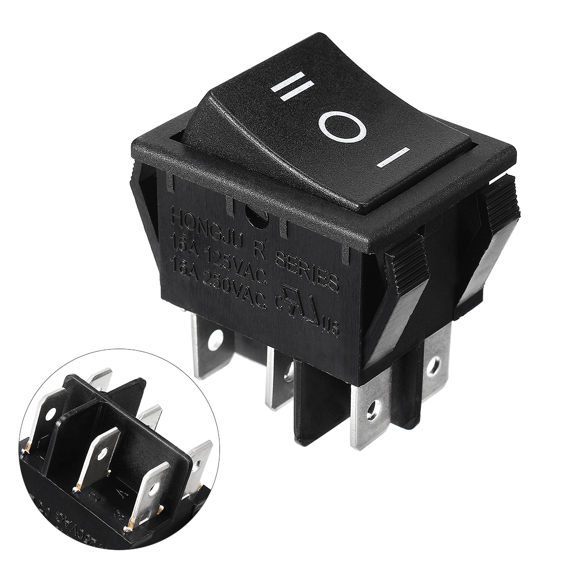 Black On/Off/On DPDT Boat Rocker Switch 16A/250V 20A/125V AC UL Listed
