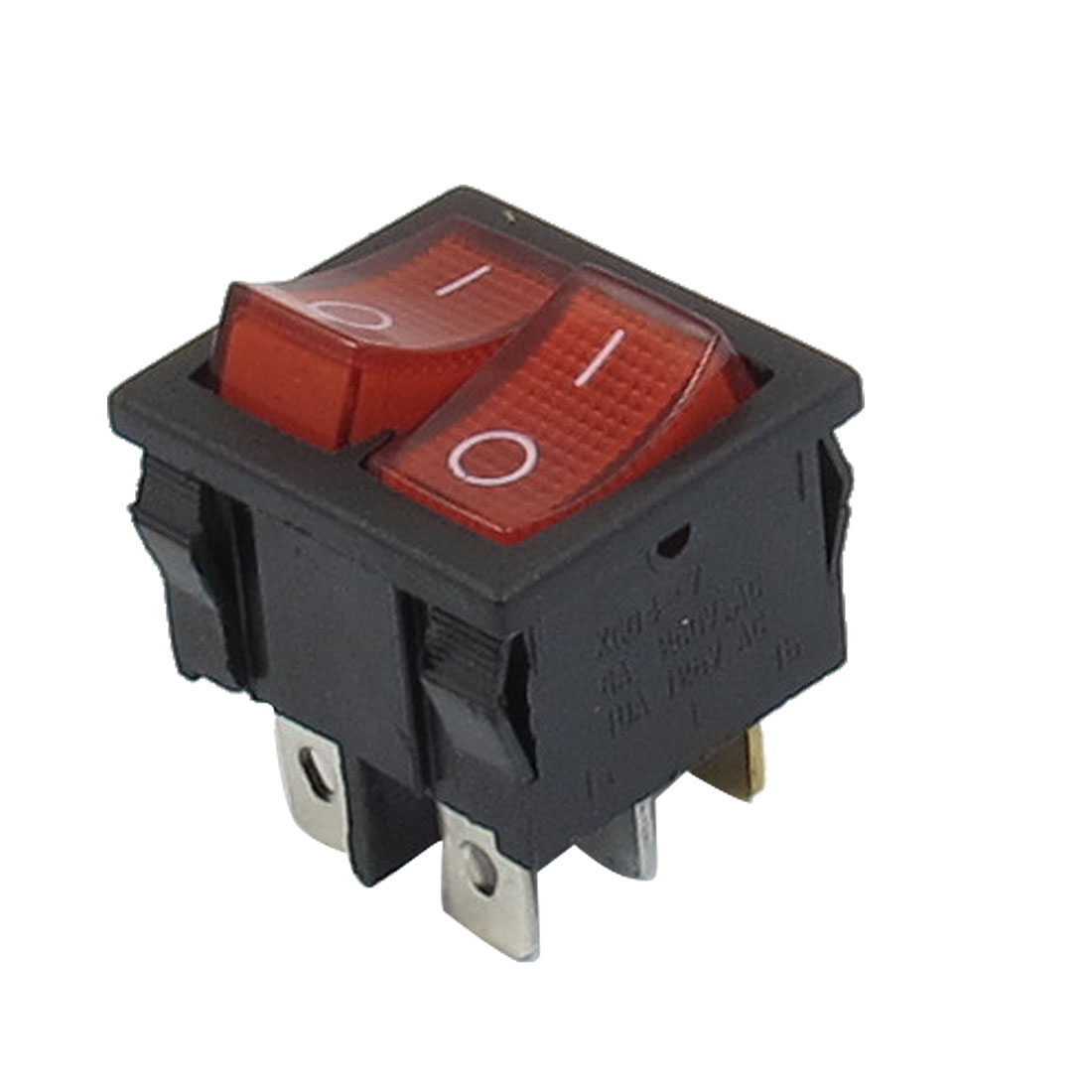 Red Illuminated Light On/Off SPST Boat Rocker Switch 6A/250V 10A/125V AC
