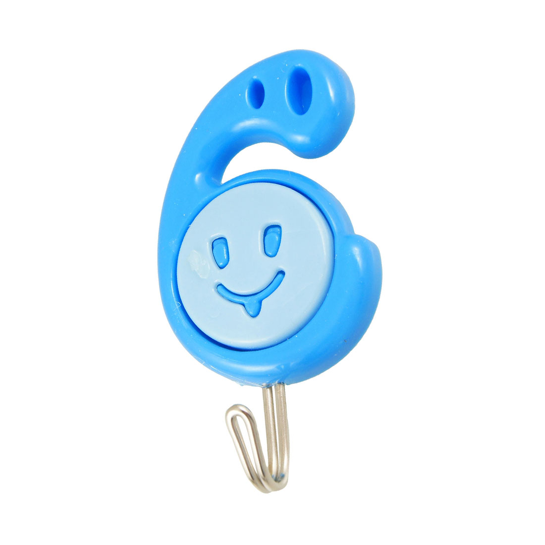 3 Pcs Blue 6 Shaped Base Smiling Bathroom Adhesive Bag Towel Wall Hanger Holder