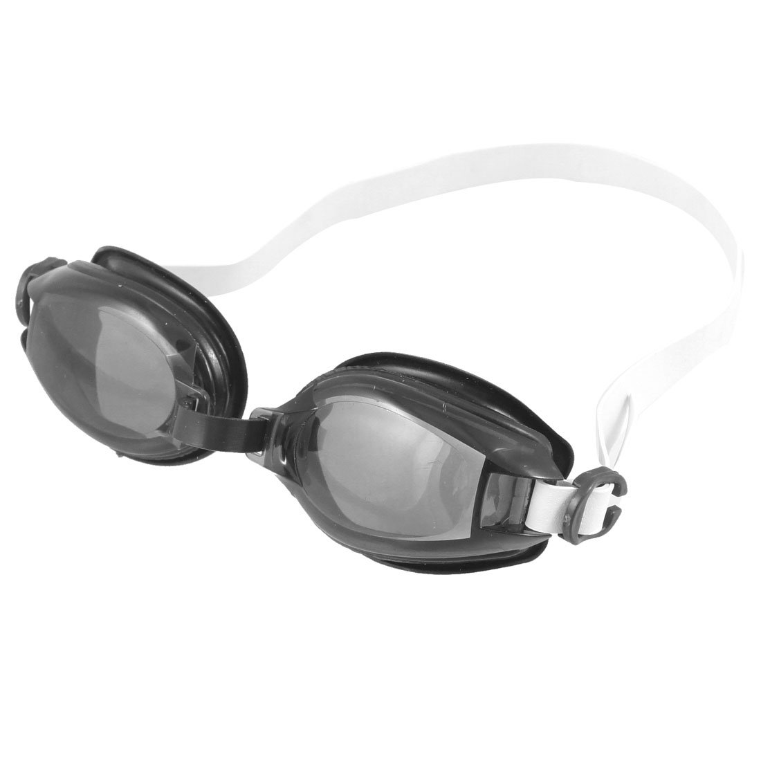 Clear Black Lens Adjustable Elastic Black Rubber Swimming Goggles Glasses