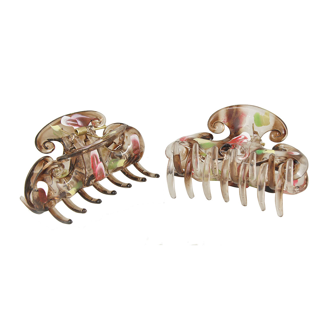Ladies Clear Brown Plastic Hairpin Hair Claw Clamp Hairclip 2 Pcs