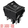 Black On/Off/On DPDT Boat Rocker Switch 16A/250V 20A/125V AC