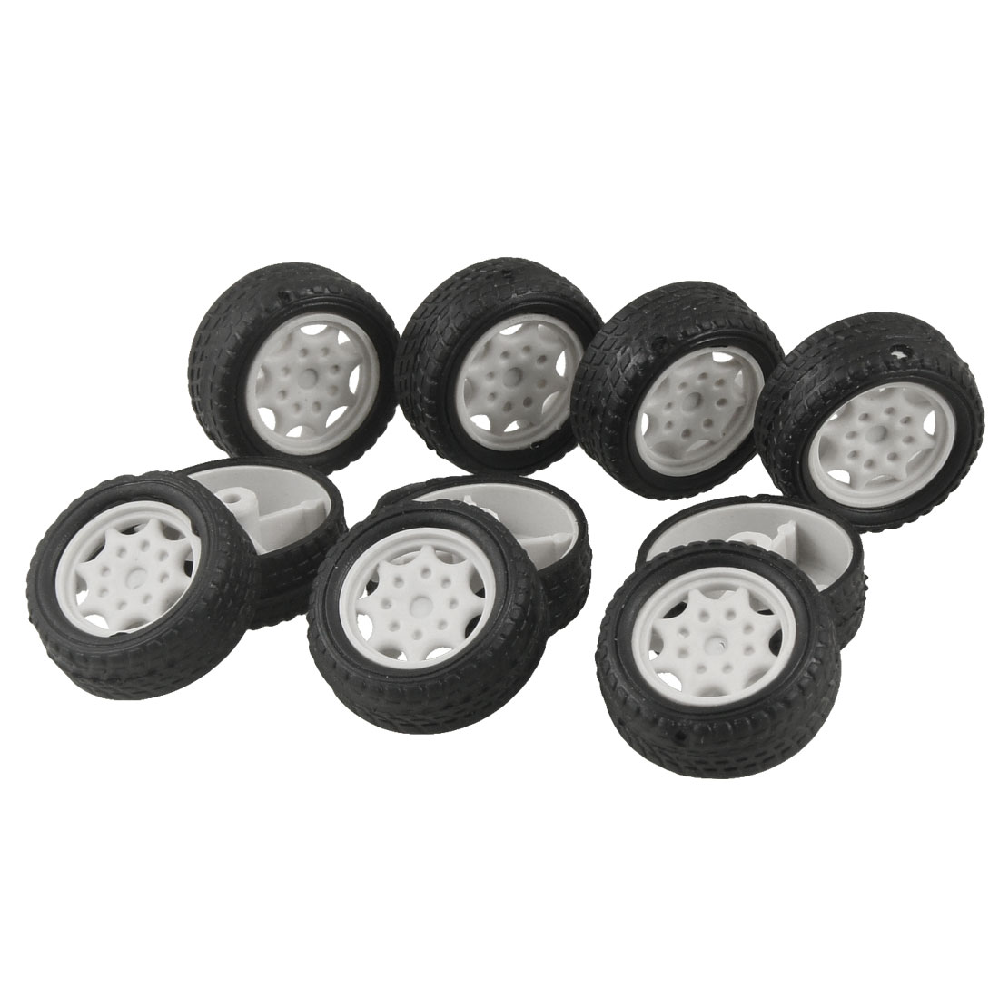 27mm Dia Rubber Roll Plastic Core Kids Toy Vehicles Car Wheels 10 Pcs