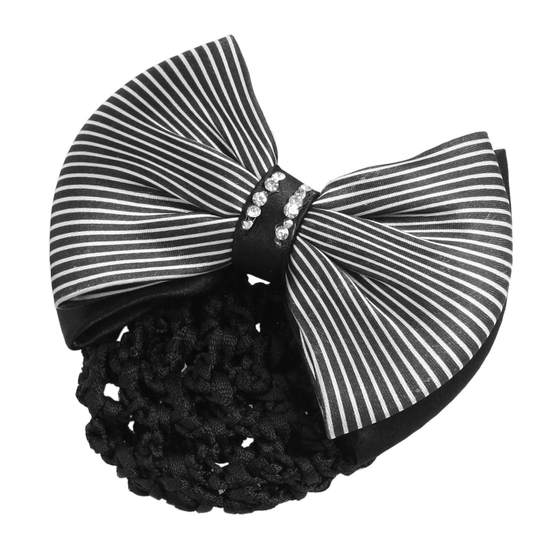 Women Black White Pinstripes Ployester Bowknot Snood Net Hairclip