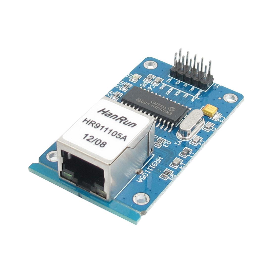 ENC28J60 LAN Ethernet Network Board Module 25MHZ Crystal AVR 51 LPC STM32 3.3V