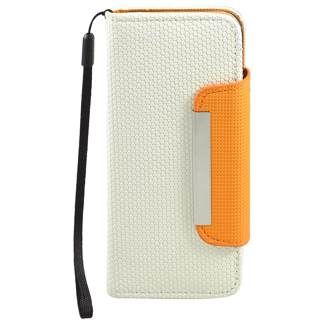White Textured Hex Pattern Faux Leather Case for iPhone 5 5G