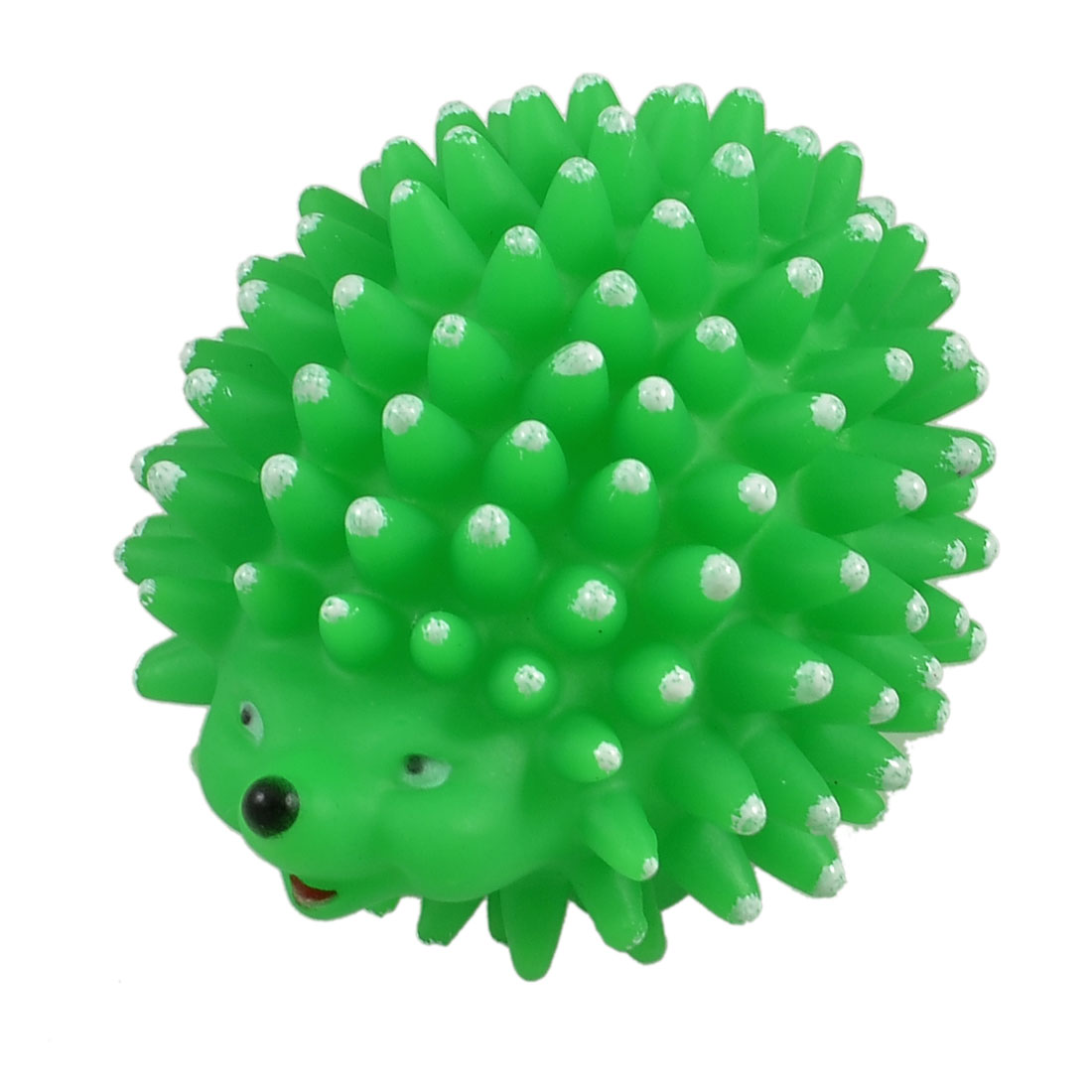 Green Vinyl Rubber Hedgehog Shaped Squeaky Chew Toy for Pet Dog