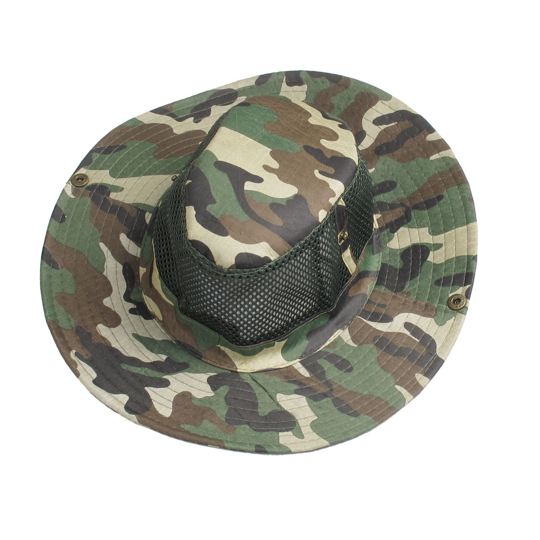Man Outdoor Black Strap Army Green Hole Style Cap Trilby Hat