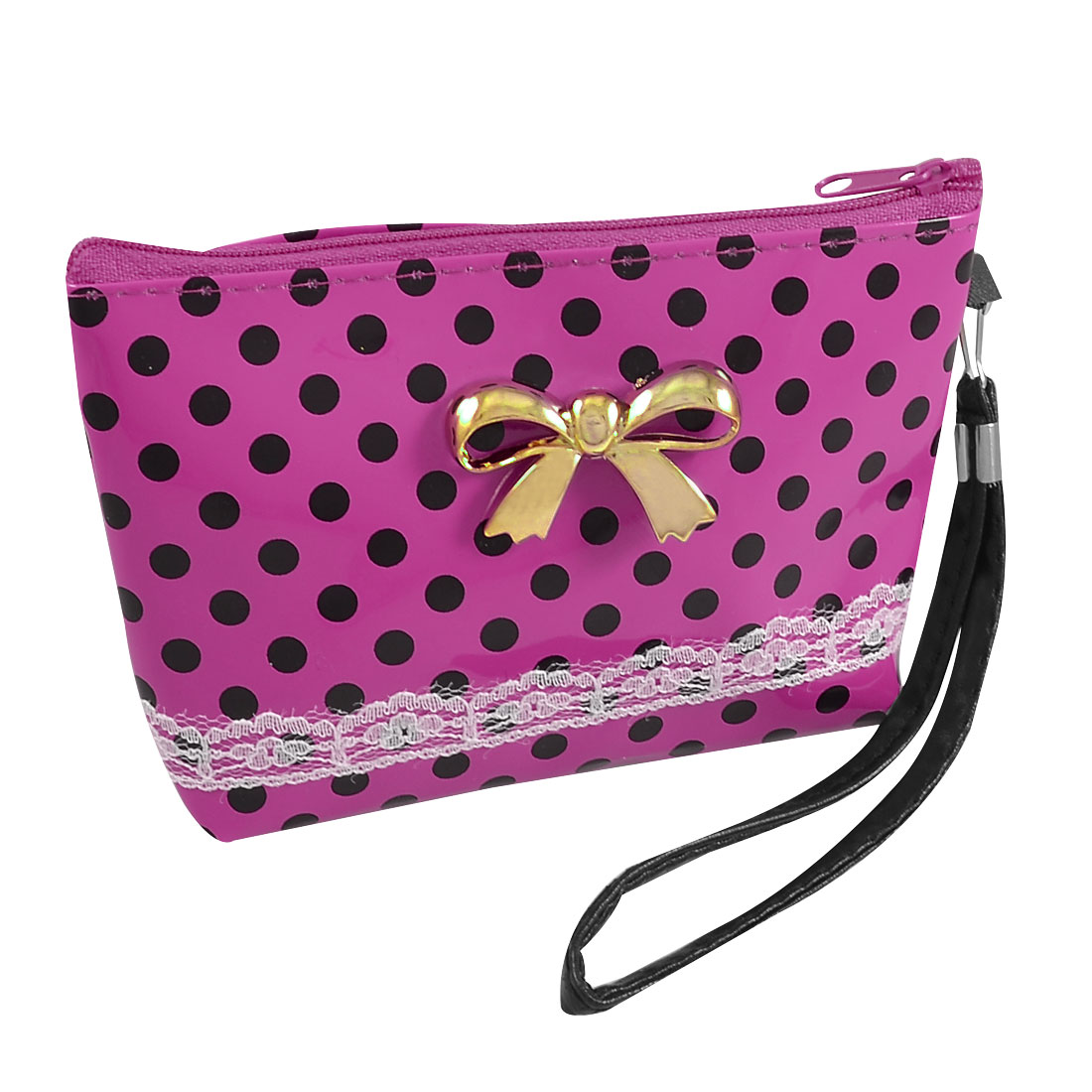 Ladies Dot Pattern Bowtie Accent Zip up Fuchsia Wallet Purse Pouch Cards Holder