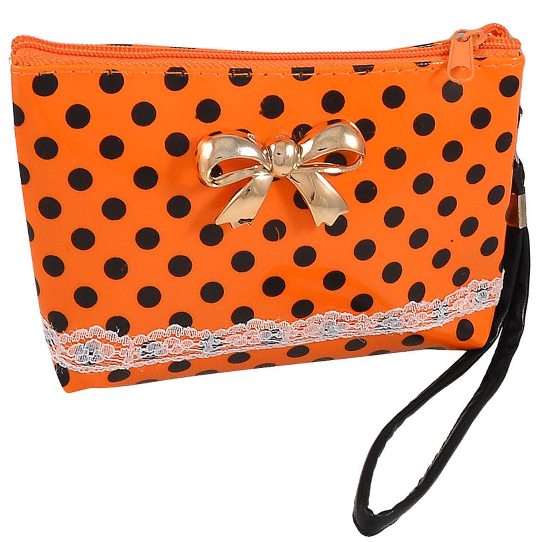 Women Dot Print Bowknot Decor Zip up Orange Red Plastic Wallet Purse Pouch
