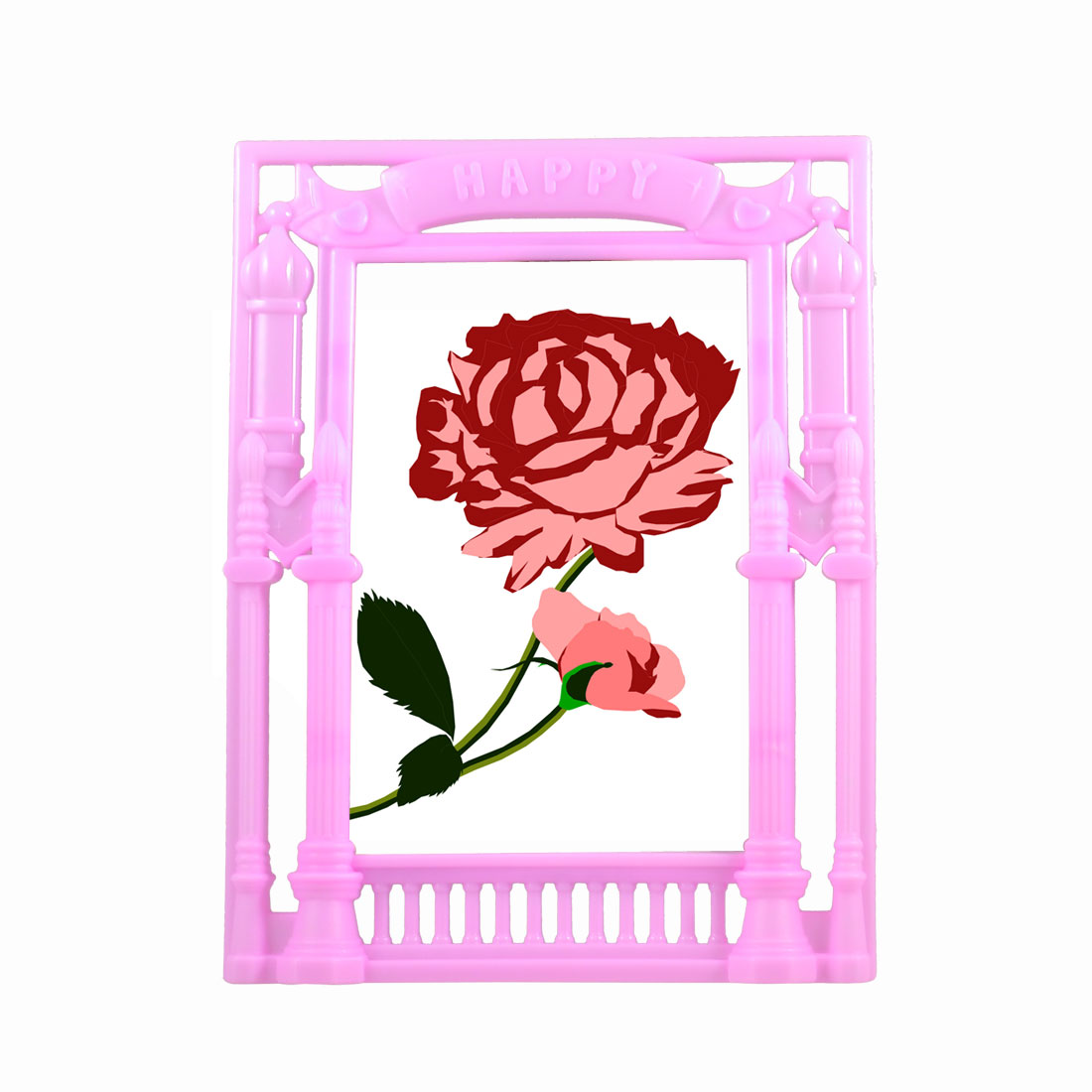 "European Construction Shape Vertical Picture Frame Pink for 5.3"" x 3.6"" Photo"
