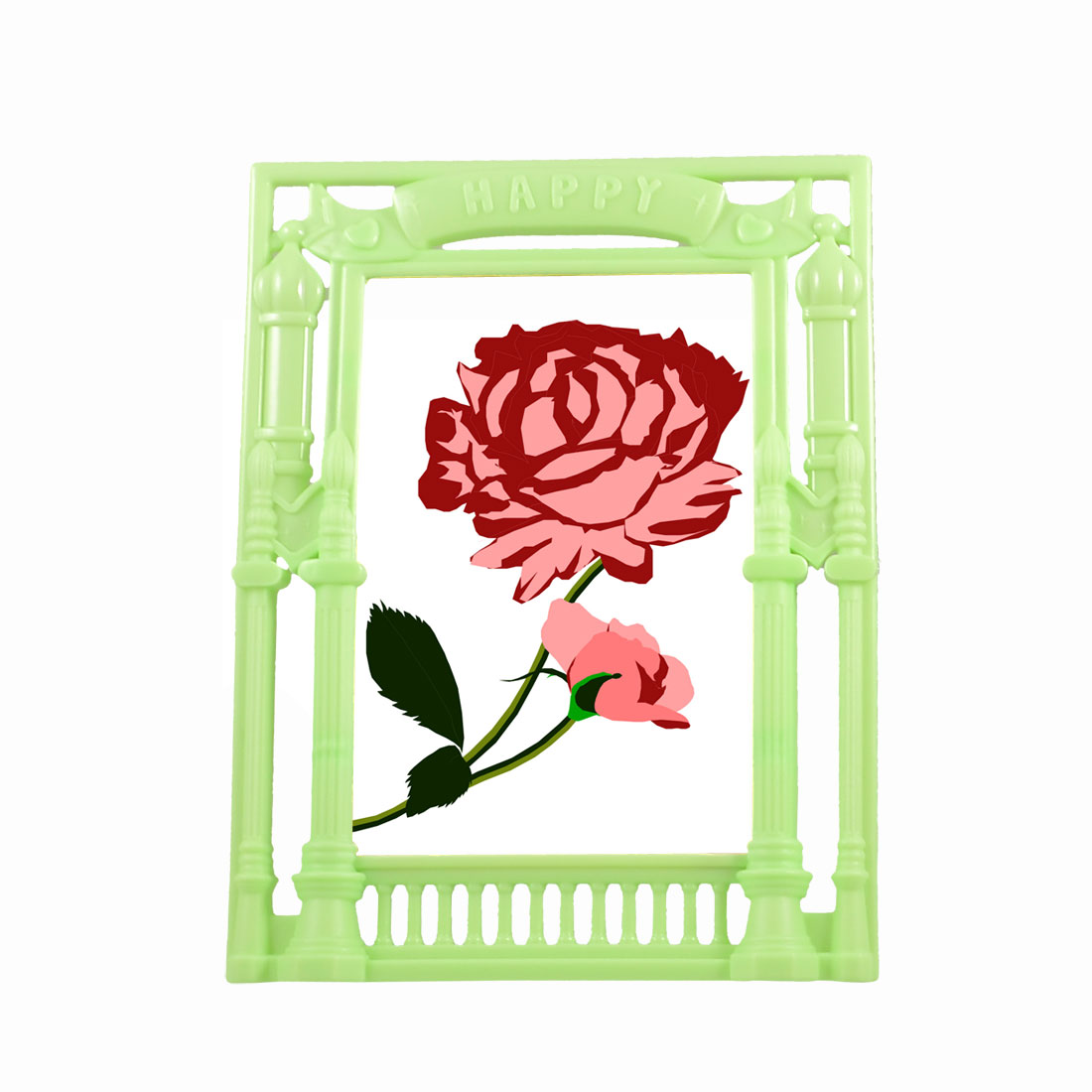 Detachable Stand Leg Plastic European Style Vertical Photo Picture Frame Green