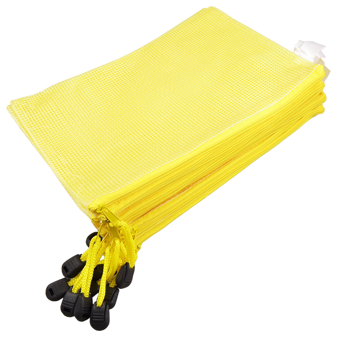 Student Plastic Zipper Closure A5 Size Paper File Holder Bag Yellow 10pcs