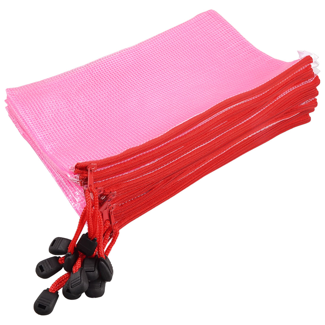 Netting Decor Surface A5 Document File Holder Zip up Bag Pink w Strap 10 Pcs