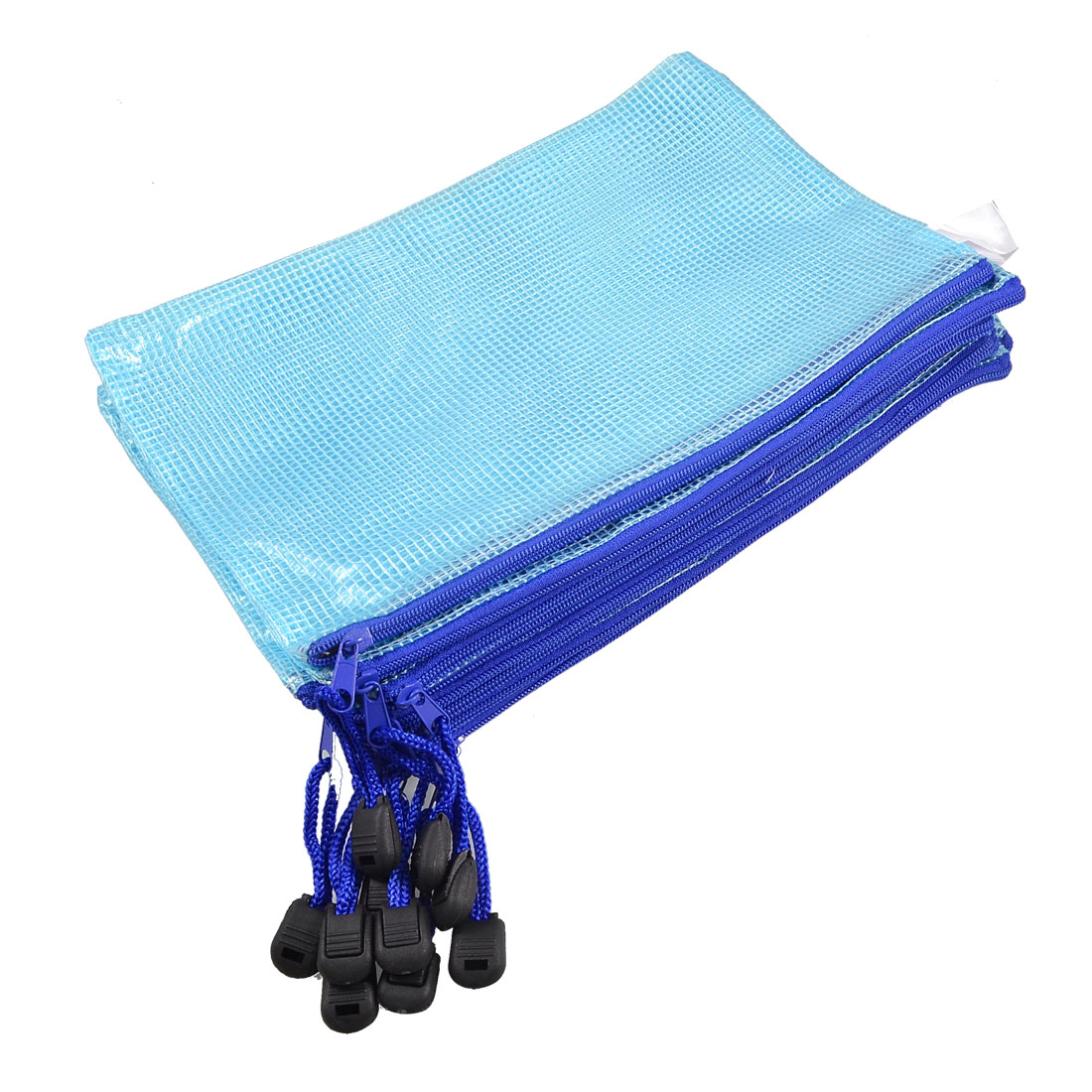 10 x Blue Plastic Net Design A5 Size Paper File Holder Zipper Bag w Strap