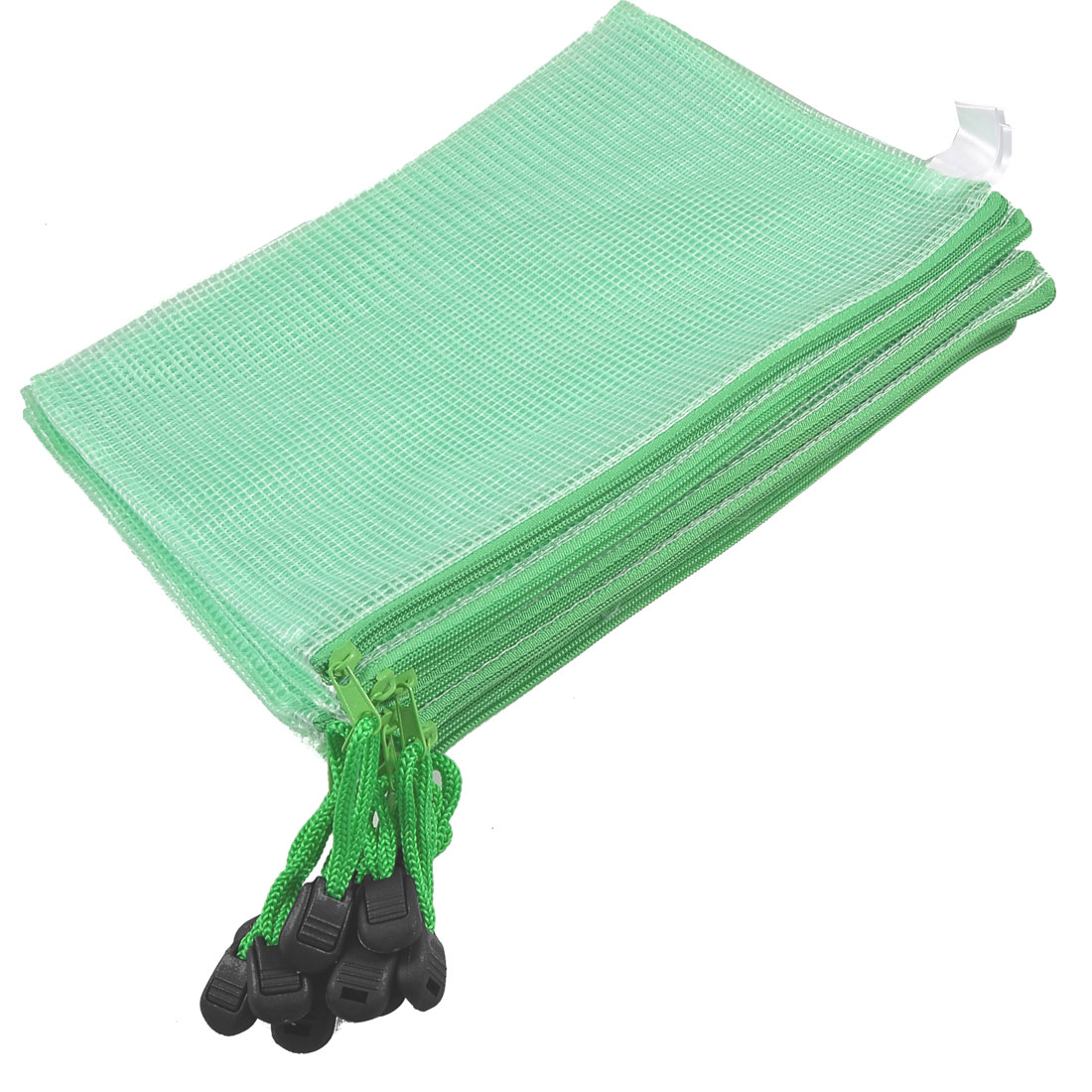 10 Pcs Zipper Closure Green Plastic Water Resistant A5 File Paper Holder Bag