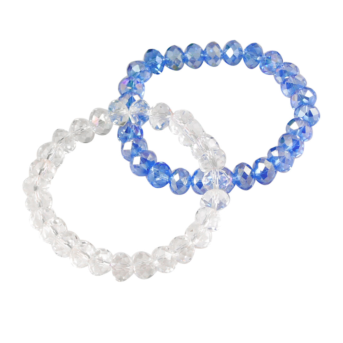 Blue Clear Faux Glittery Crystal Beads Stretchy Bracelets Bangle for Woman 2 Pcs
