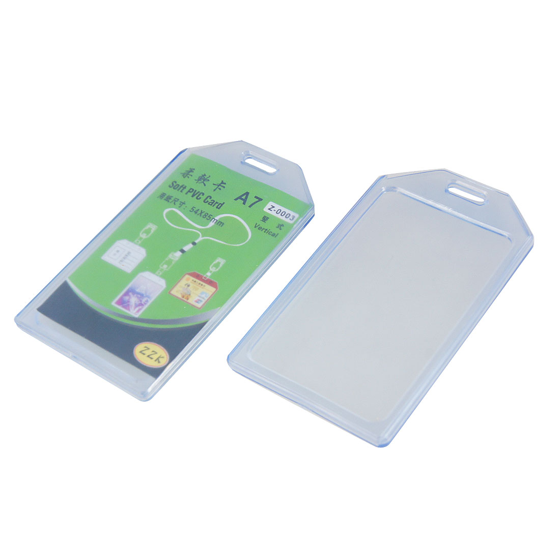 Clear Blue Soft Plastic Business ID Badge Card Vertical Holder 2 Pcs