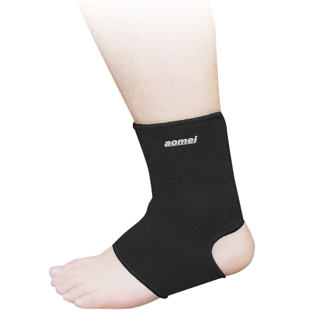 Black Neoprene Hook Loop Fastener Closure Ankle Support Protector