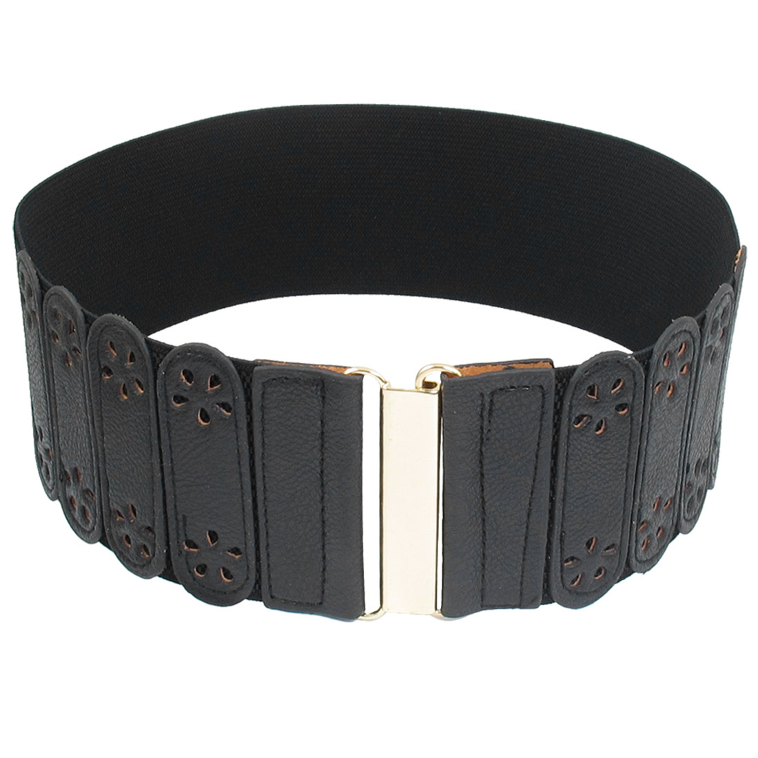 Ladies Hollow Flower Decor Interlocking Closure Stretchy Band Waist Belt Black