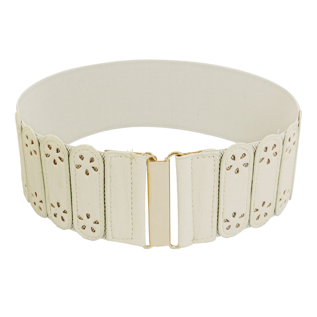 Ladies Hollow Flower Decor Interlocking Closure Stretchy Band Waist Belt Off White
