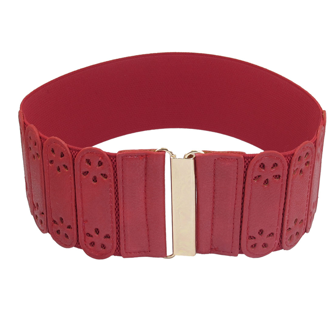 Ladies Hollow Flower Decor Interlocking Closure Stretchy Band Waist Belt Red