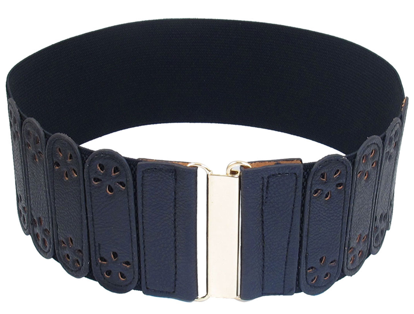 Ladies Hollow Flower Decor Interlocking Closure Stretchy Band Waist Belt Dark Blue